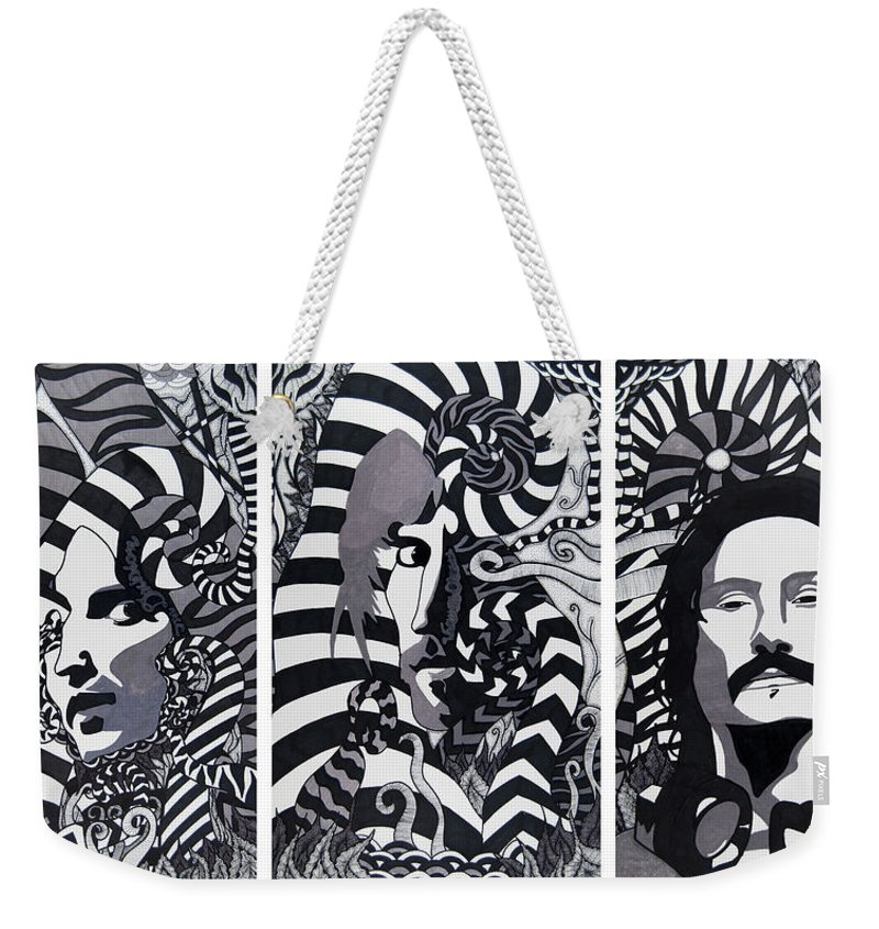 Marker Weekender Tote Bag featuring the drawing Triptych Sound by Jenny Wiest