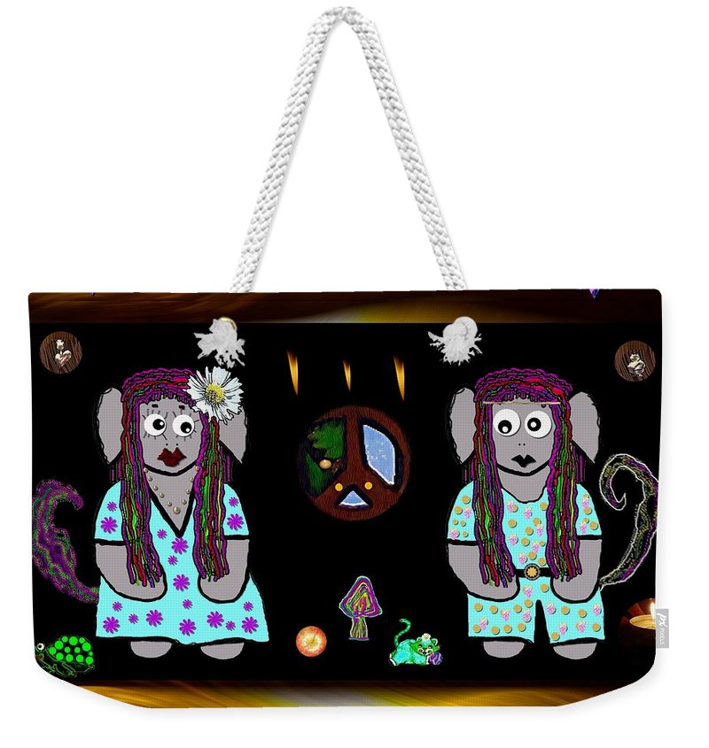 Landscape Weekender Tote Bag featuring the mixed media Trolls In Hippie Wood by Pepita Selles