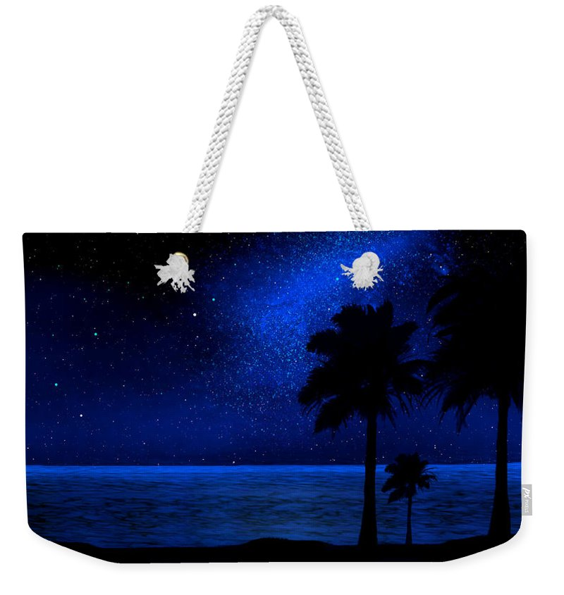 Tropical Beach Mural Weekender Tote Bag featuring the painting Tropical Beach Wall Mural by Frank Wilson