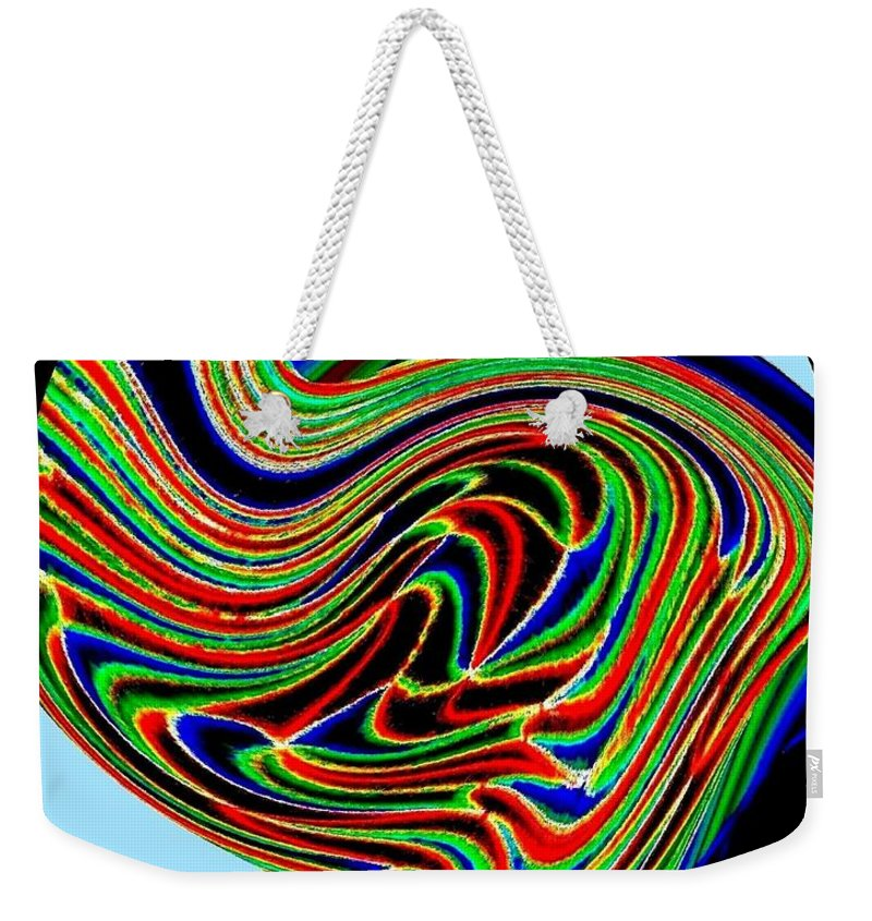 Abstract Weekender Tote Bag featuring the digital art Tropical Bird Trio by Will Borden