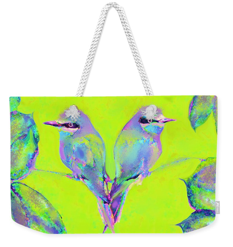 Birds Weekender Tote Bag featuring the digital art Tropical Birds Blue And Chartreuse by Jane Schnetlage
