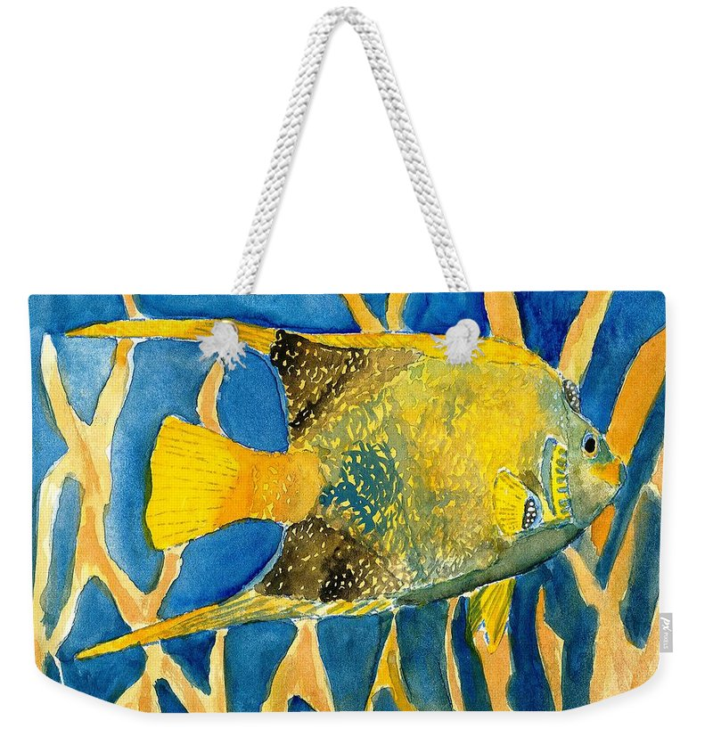 Tropical Weekender Tote Bag featuring the painting Tropical Fish Art Print by Derek Mccrea