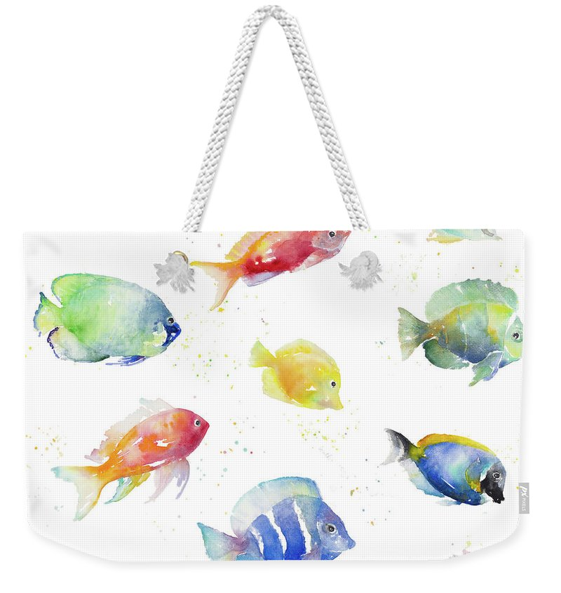 Tropical Weekender Tote Bag featuring the painting Tropical Fish Round by Lanie Loreth