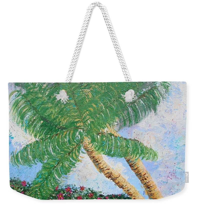Tropical Weekender Tote Bag featuring the painting Tropical Flair by Margaret Bobb