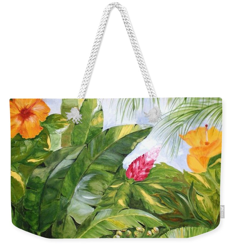 Tropical Weekender Tote Bag featuring the painting Tropical Garden by Graciela Castro