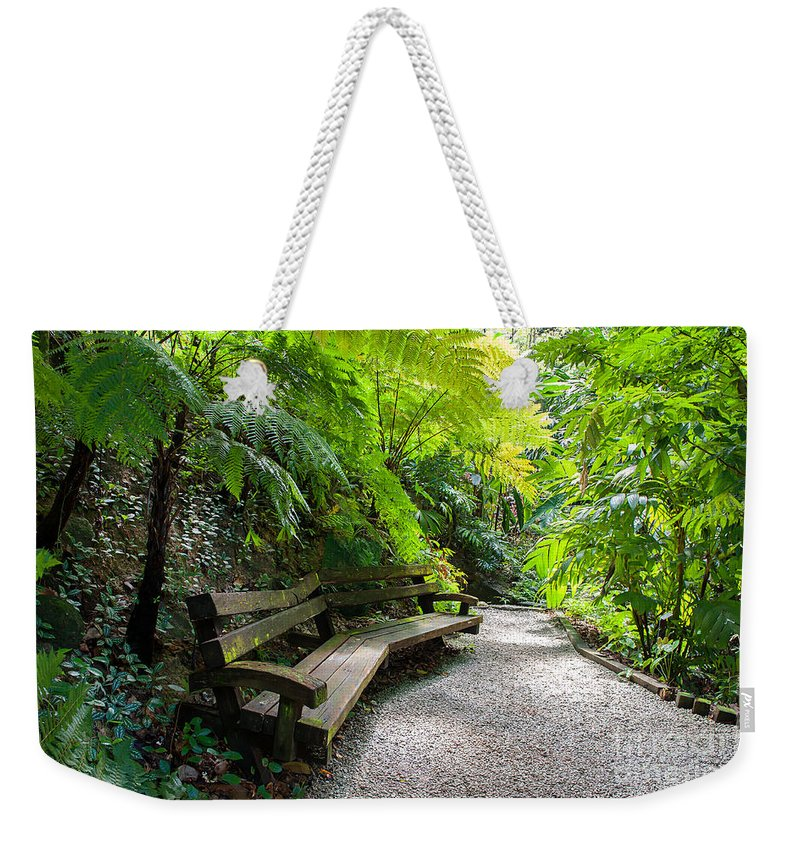 Green Weekender Tote Bag featuring the photograph Tropical Garden by Kim Pin Tan