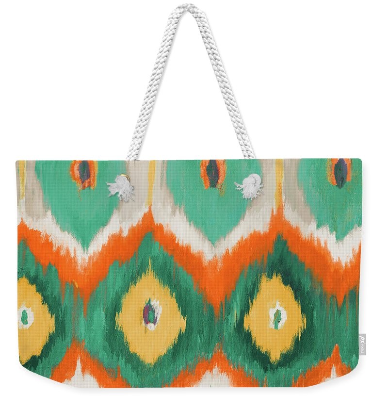 Tropical Weekender Tote Bag featuring the painting Tropical Ikat II by Patricia Pinto