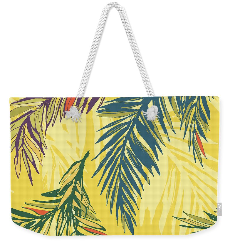Tropical Rainforest Weekender Tote Bag featuring the digital art Tropical Jungle Floral Seamless Pattern by Sv sunny