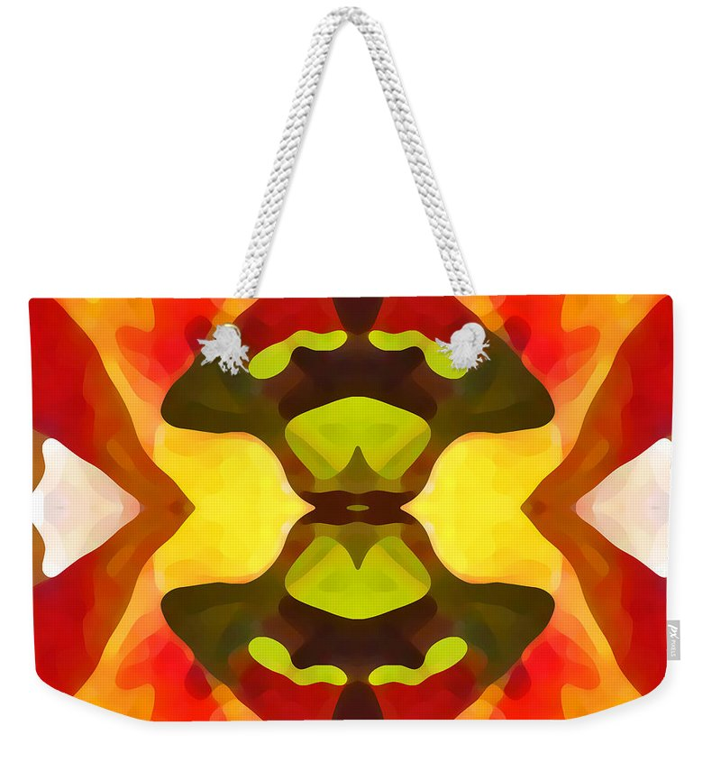 Abstract Weekender Tote Bag featuring the painting Tropical Leaf Pattern 1 by Amy Vangsgard