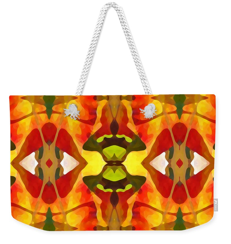 Abstract Weekender Tote Bag featuring the painting Tropical Leaf Pattern 4 by Amy Vangsgard