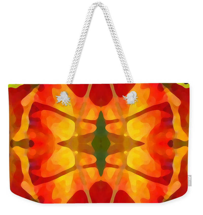 Abstract Weekender Tote Bag featuring the painting Tropical Leaf Pattern5 by Amy Vangsgard
