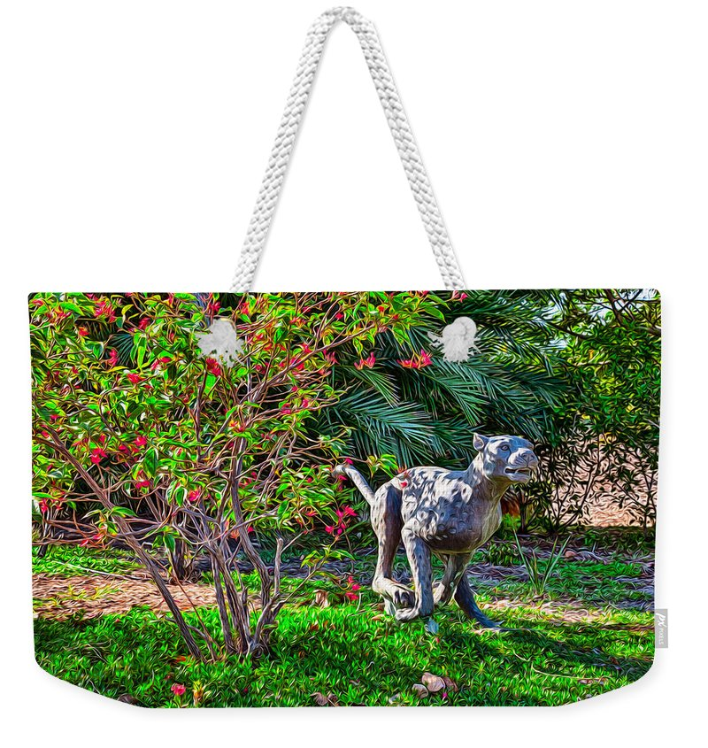 Animal Weekender Tote Bag featuring the painting Tropical Mountain Lion by Omaste Witkowski