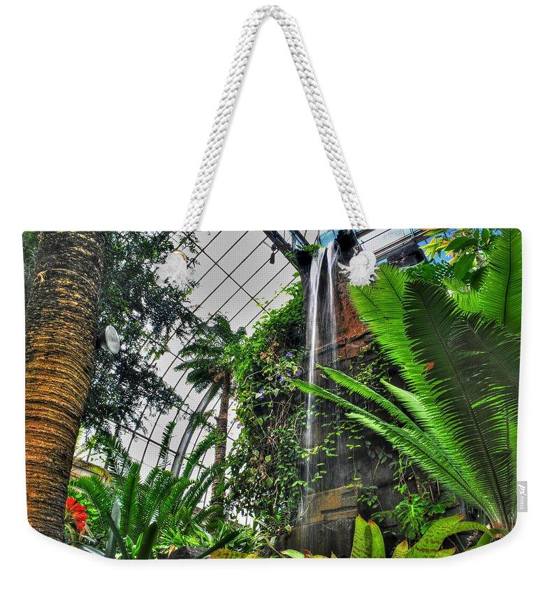 Buffalo Botanical Gardens Weekender Tote Bag featuring the photograph Tropical Paradise Falling Waters Buffalo Botanical Gardens Series  by Michael Frank Jr