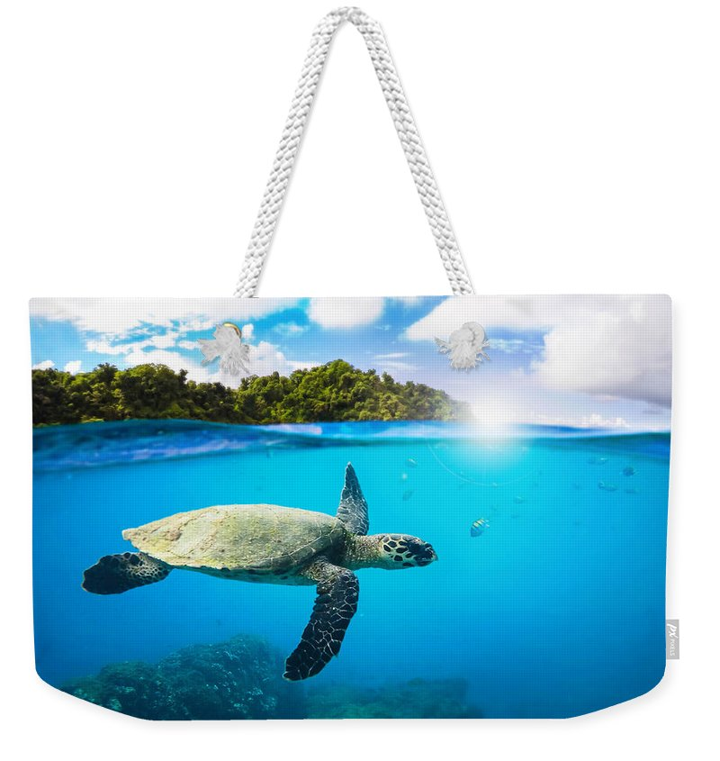 Summer Weekender Tote Bag featuring the digital art Tropical Paradise by Nicklas Gustafsson