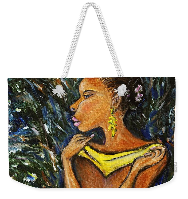 Figurative Weekender Tote Bag featuring the painting Tropical Shower by Xueling Zou