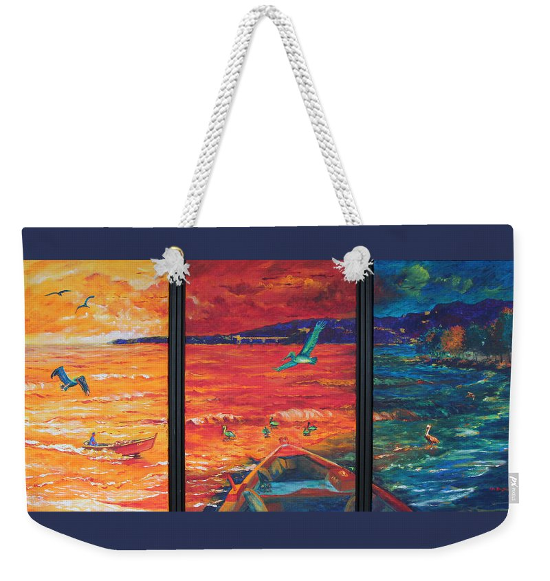 Sea Painting Weekender Tote Bag featuring the painting Tropical Trance Triptych by Estela Robles Galiano