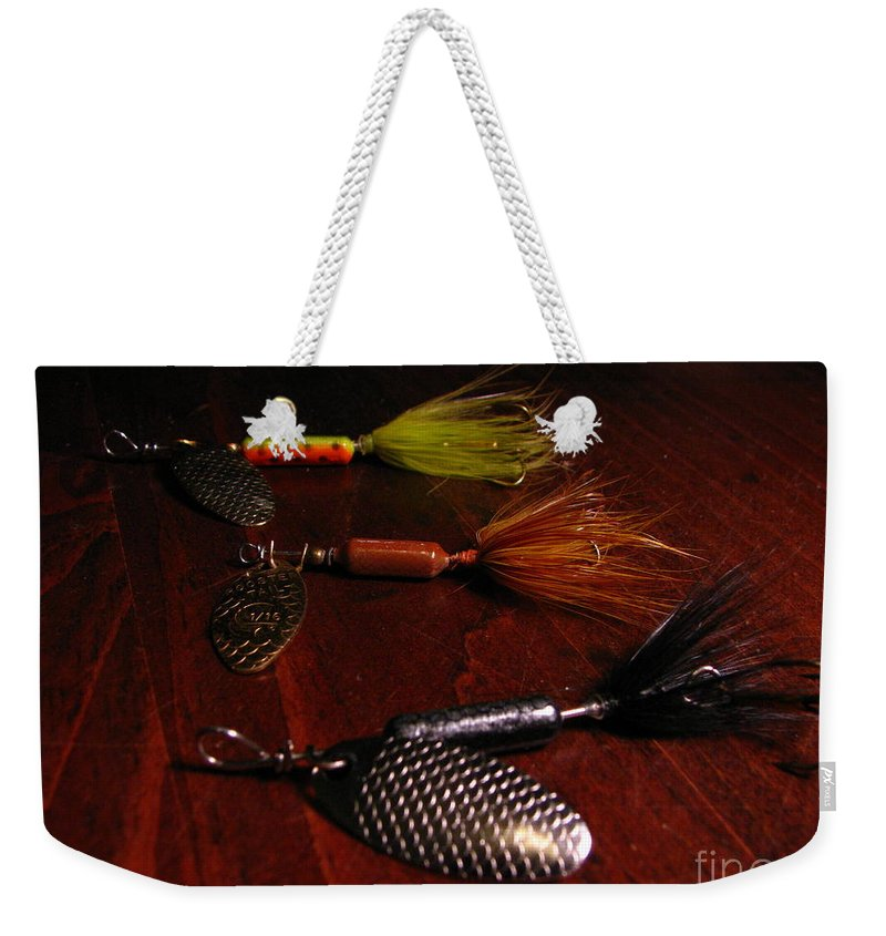 Patzer Weekender Tote Bag featuring the photograph Trout Temptation by Greg Patzer