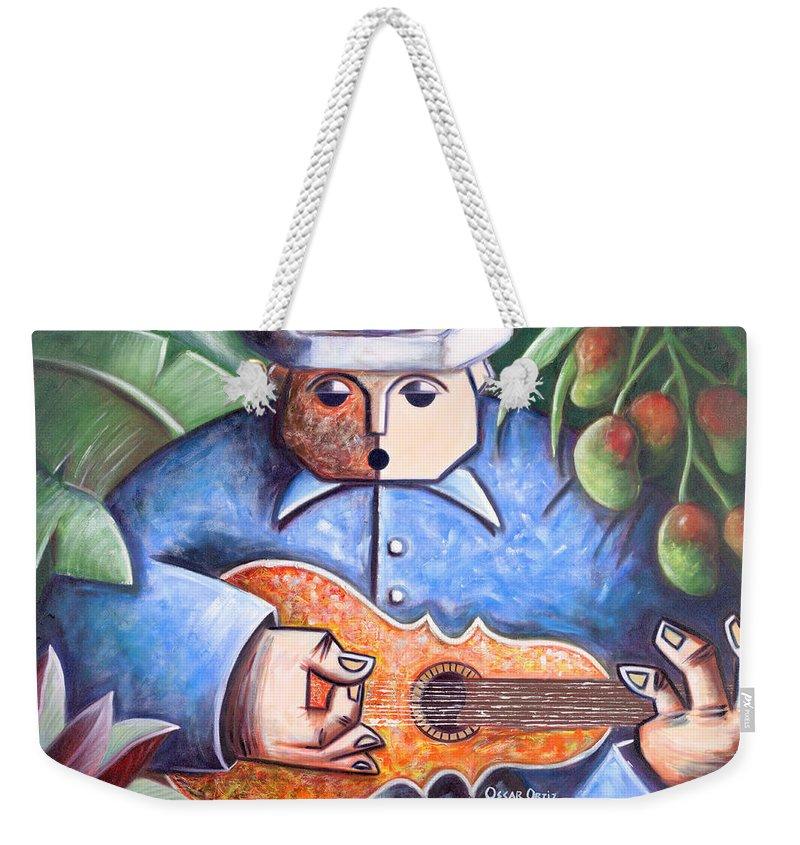 Puerto Rico Weekender Tote Bag featuring the painting Trovador de mango bajito by Oscar Ortiz