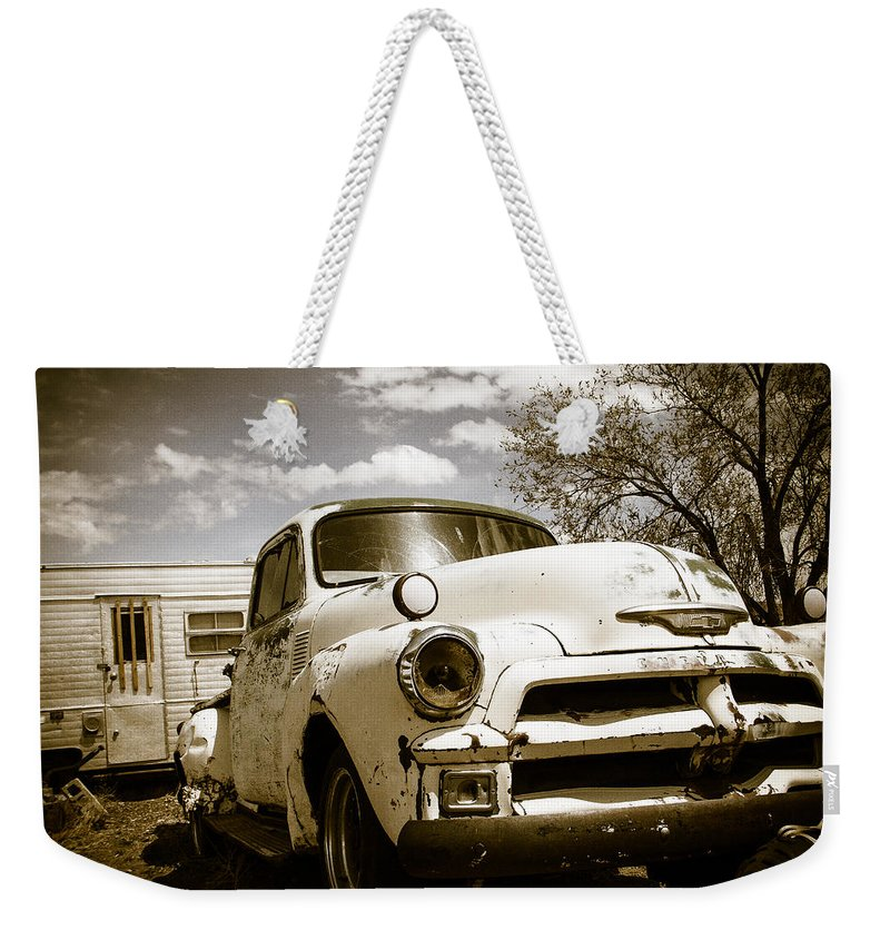 Made In America Weekender Tote Bag featuring the photograph Truck And Trailer by Steven Bateson