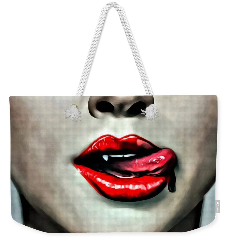 Tv Weekender Tote Bag featuring the painting True Blood by Florian Rodarte