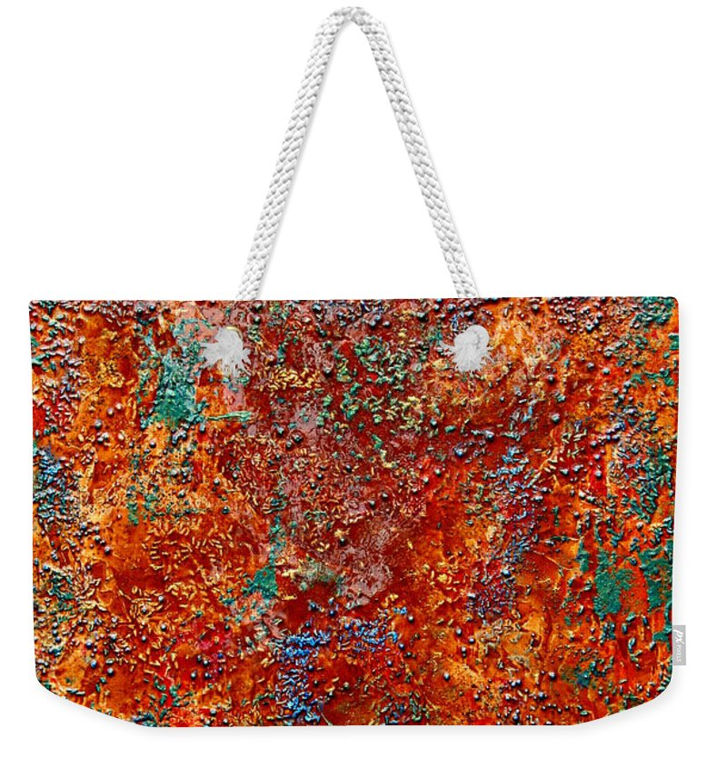 Abstract Weekender Tote Bag featuring the painting Truly Organic by Jay Strong