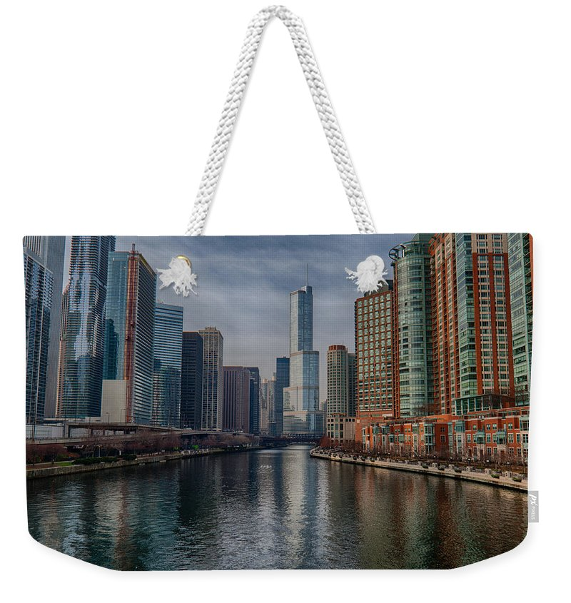 Chicago Weekender Tote Bag featuring the photograph Trump Skyline by Mike Burgquist