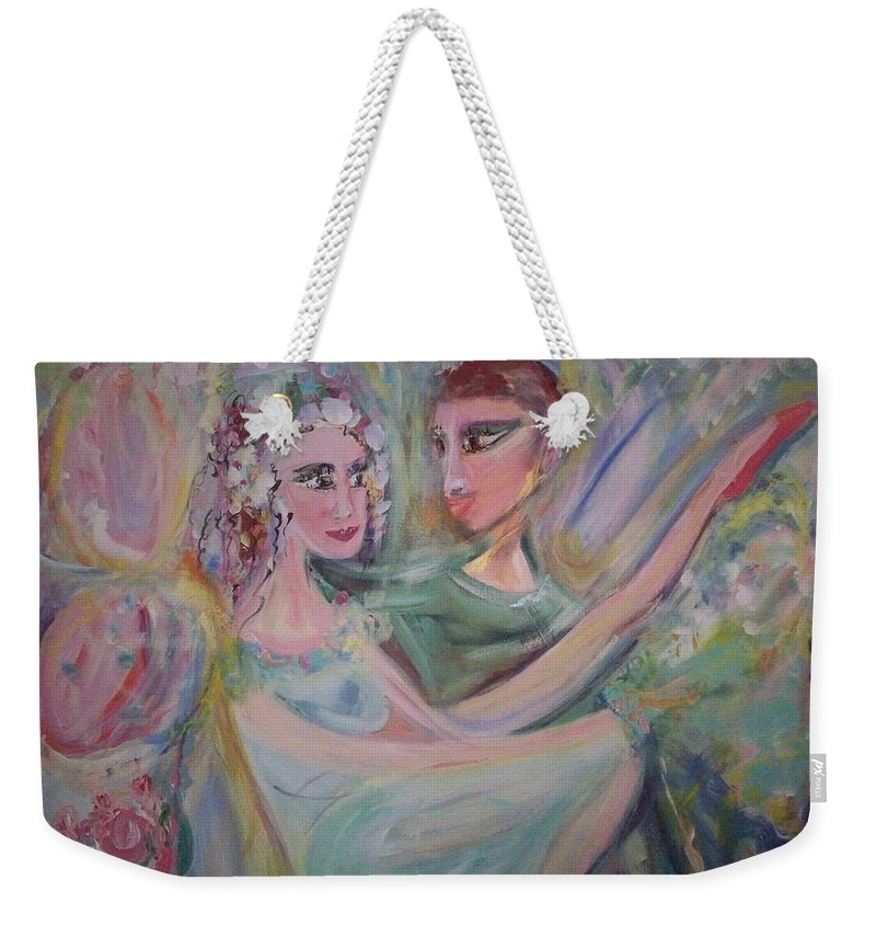 Trust Weekender Tote Bag featuring the painting Trust Me On This by Judith Desrosiers