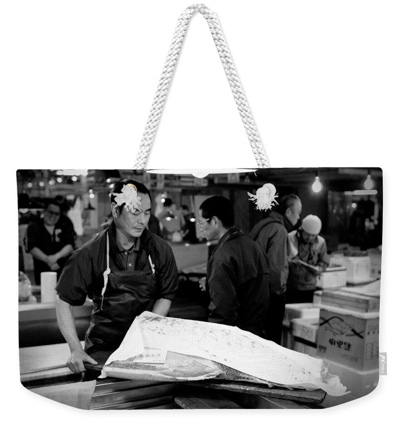 Japan Weekender Tote Bag featuring the photograph Tsukiji Tokyo Fish Market by Sebastian Musial