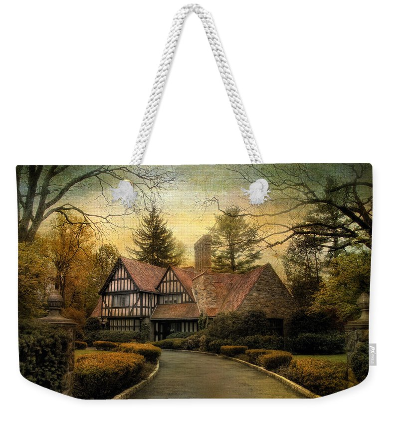 Tudor Weekender Tote Bag featuring the photograph Tudor Road by Jessica Jenney