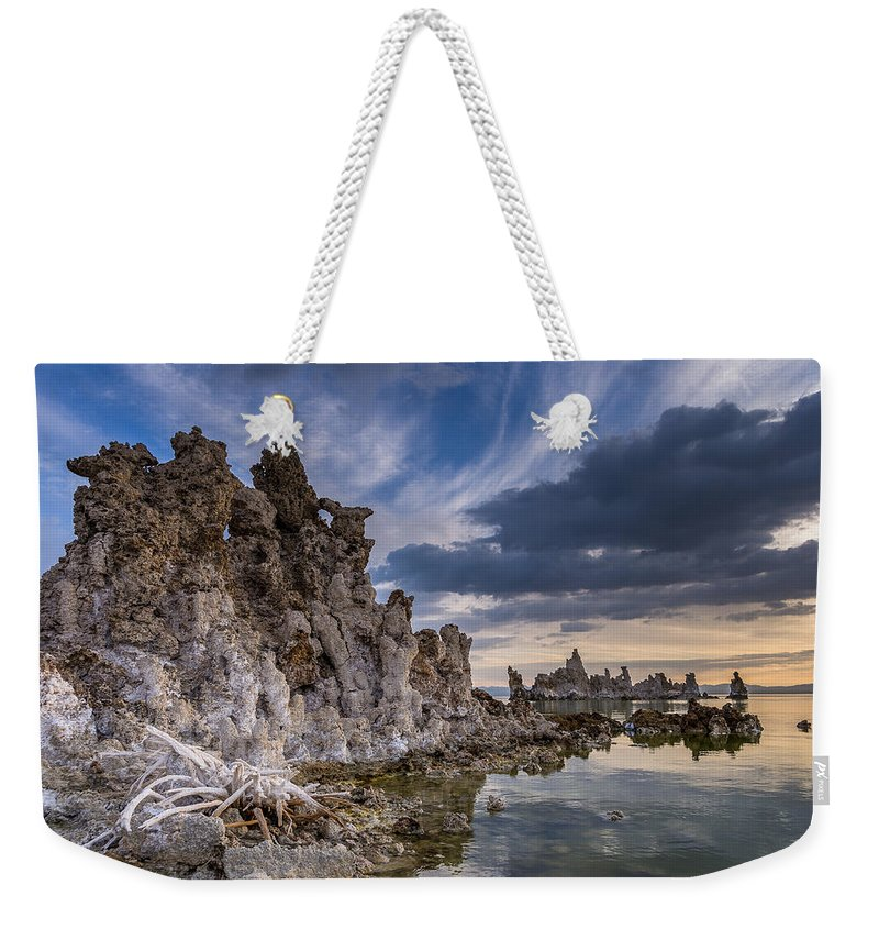 Tufa Weekender Tote Bag featuring the photograph Tufas And Clouds by Greg Nyquist