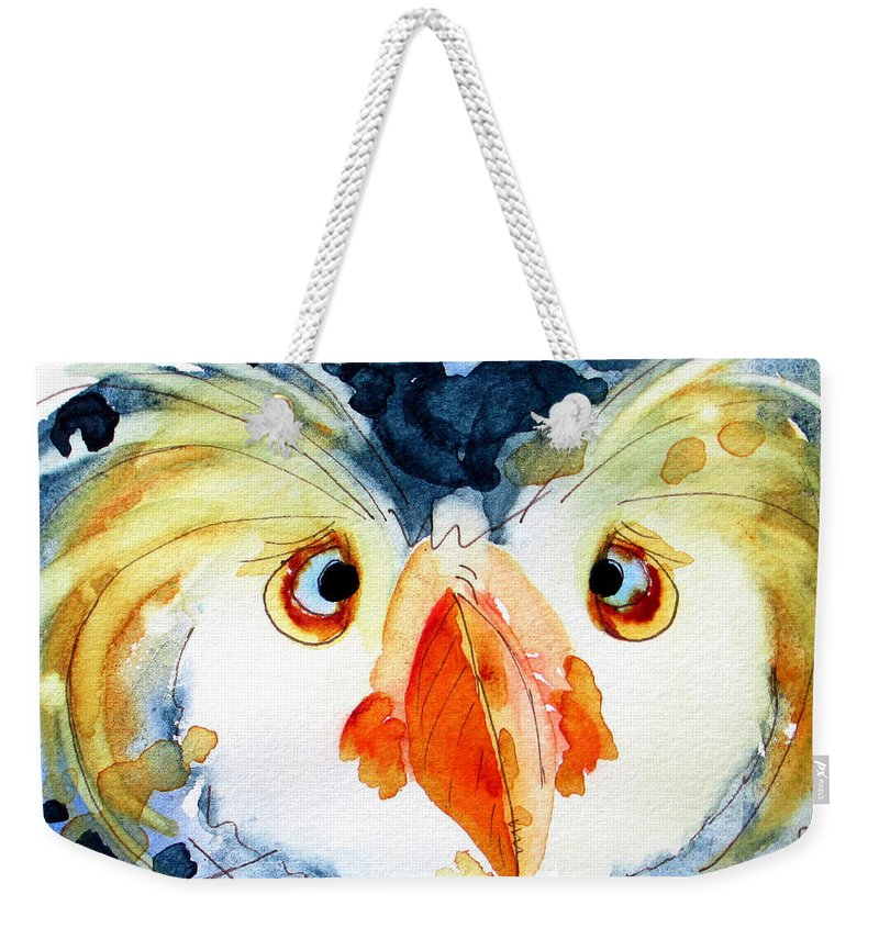 Tufted Puffin Weekender Tote Bag featuring the painting Tufted Puffin by Dawn Derman