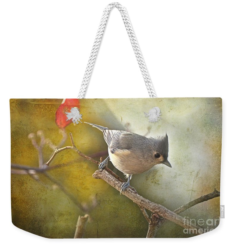 Nature Weekender Tote Bag featuring the photograph Tufted Titmouse by Debbie Portwood