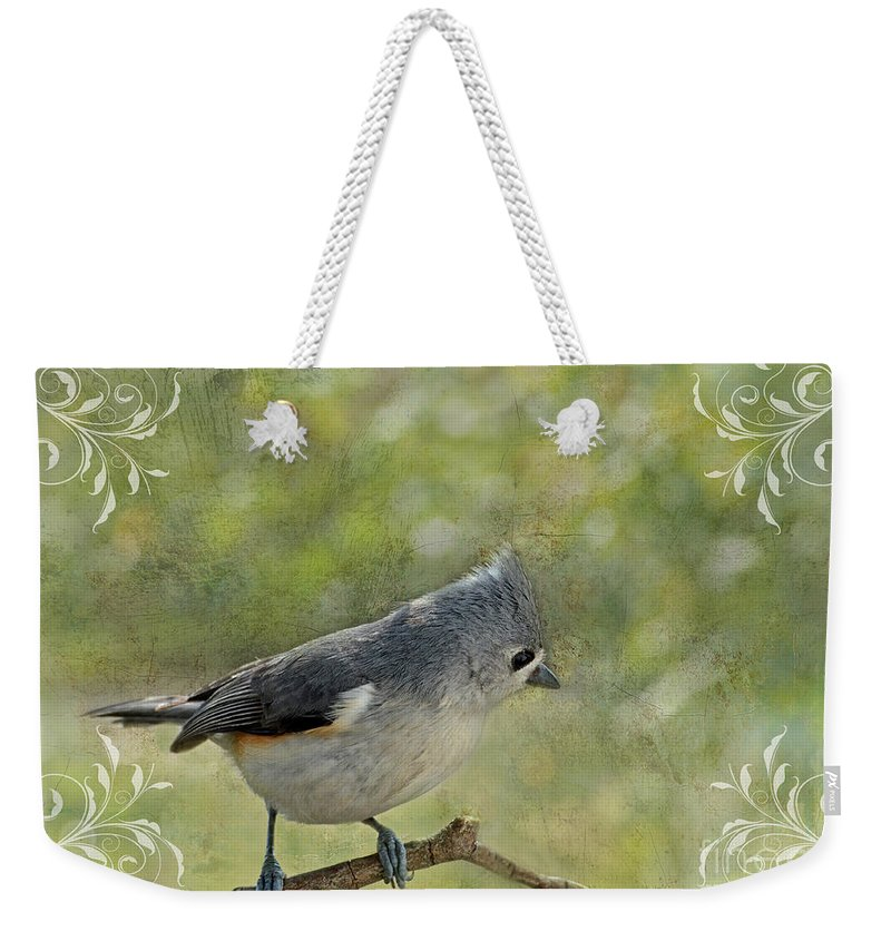 Nature Weekender Tote Bag featuring the photograph Tufted Titmouse With Decorations II by Debbie Portwood