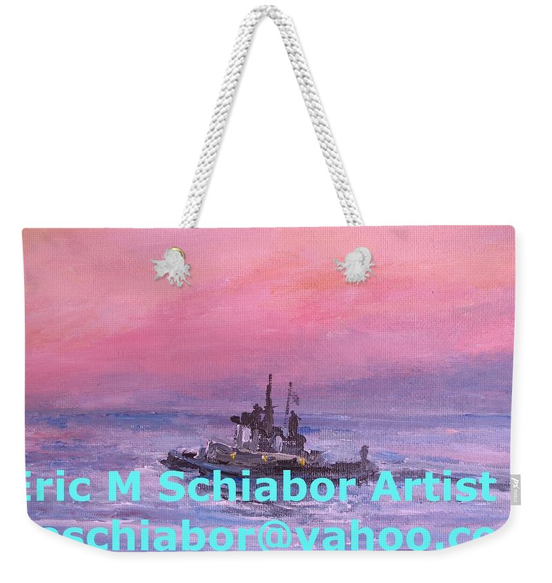 Tug Weekender Tote Bag featuring the painting Tug At Sunrise by Eric Schiabor