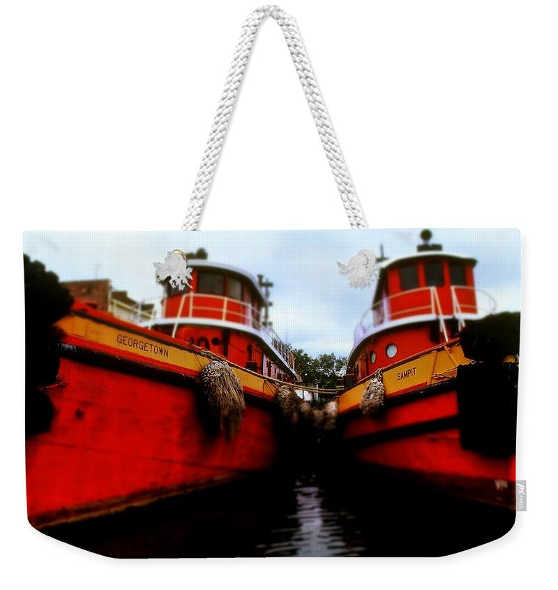 Fine Art Weekender Tote Bag featuring the photograph Tugs by Rodney Lee Williams