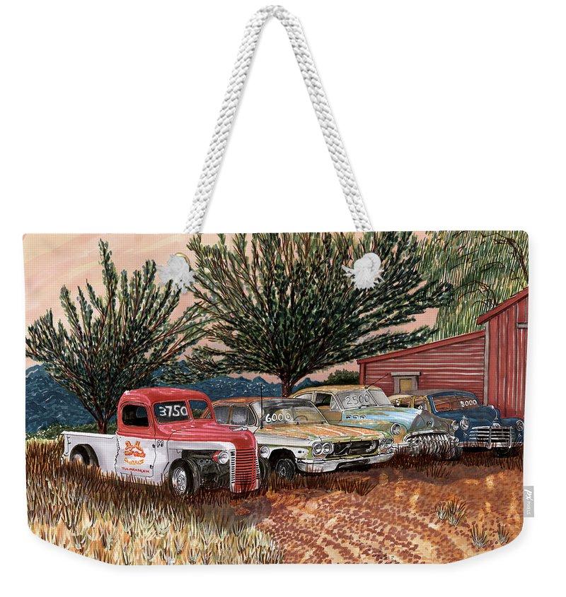 Classic Car Art Weekender Tote Bag featuring the painting Tularosa Motors by Jack Pumphrey