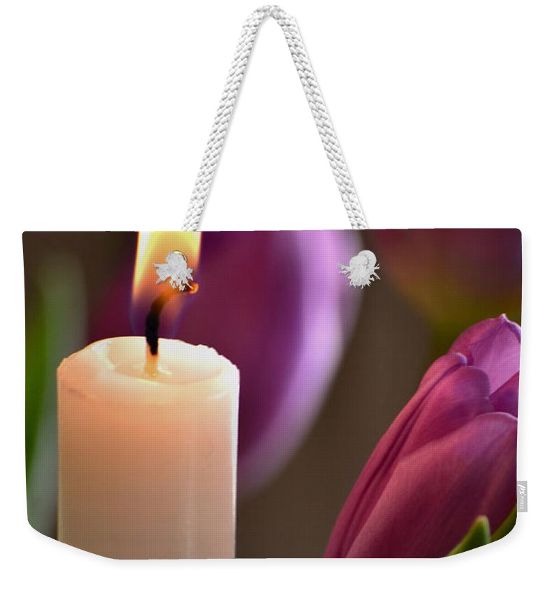 Tulips Weekender Tote Bag featuring the photograph Tulight by Deb Halloran