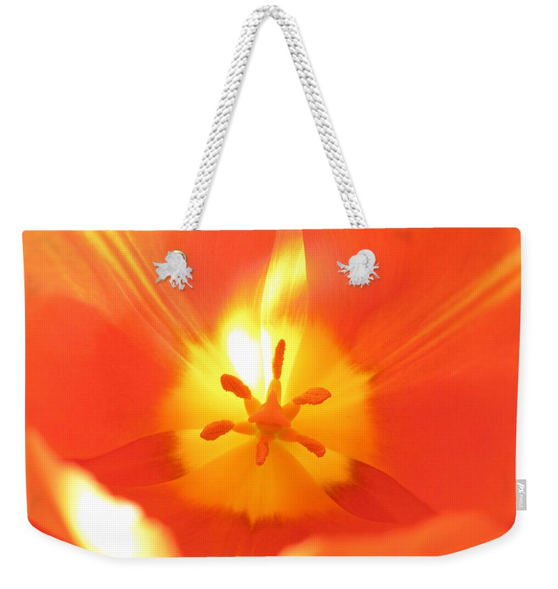 Flower Weekender Tote Bag featuring the photograph Tulip 5 by Cecilia Swatton