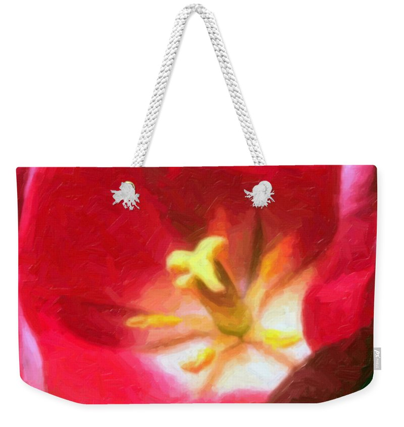 Flower Weekender Tote Bag featuring the painting Tulip by Sergey Bezhinets