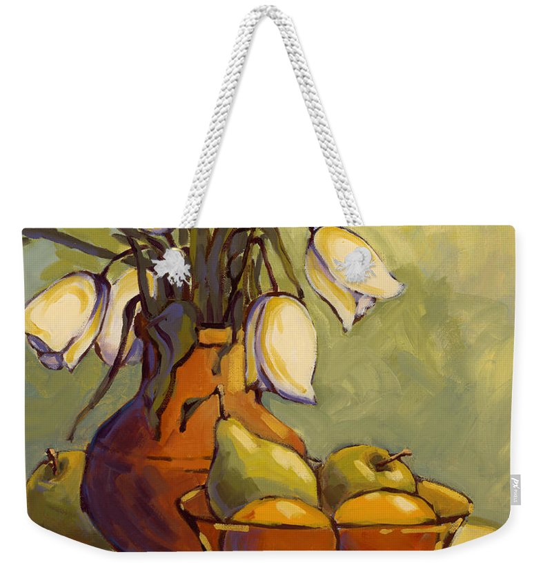 Tulips Weekender Tote Bag featuring the painting Tulips 1 by Konnie Kim