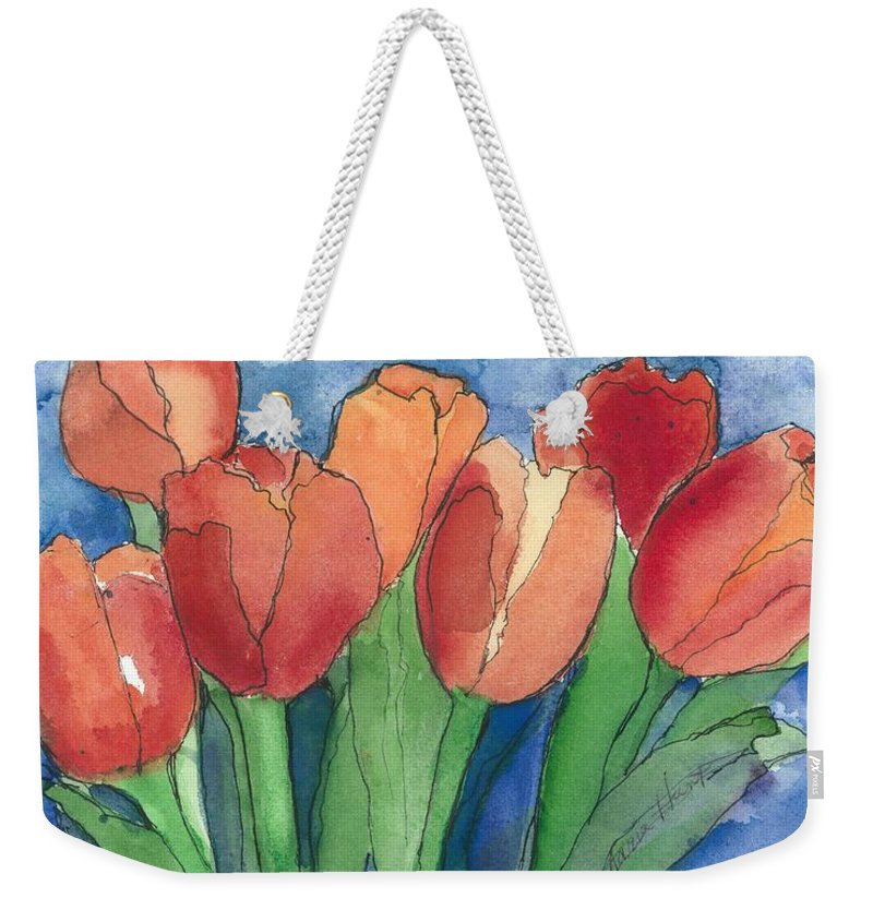 Red And Orange Tulips Weekender Tote Bag featuring the painting Tulips After The Rain by Maria Hunt