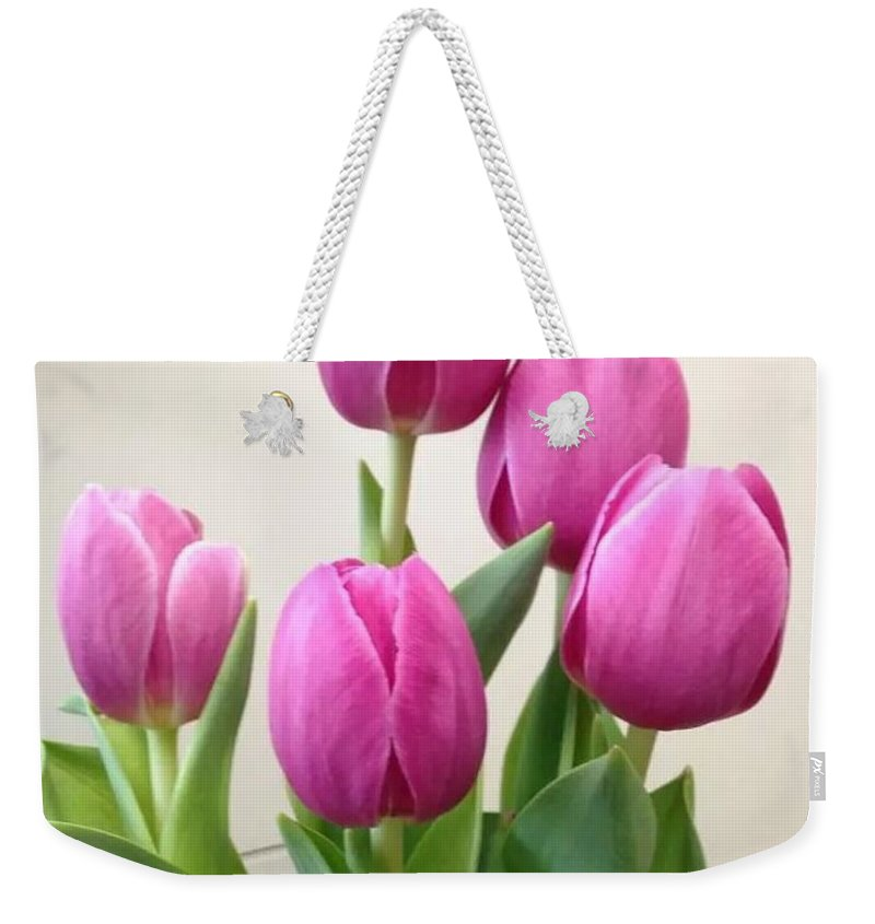 Tulips Weekender Tote Bag featuring the photograph Tulips In Bloom by Stacy Head
