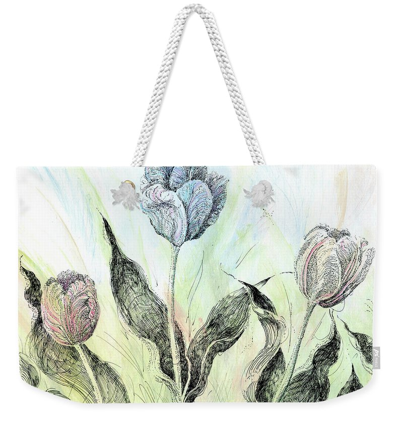 Floral Weekender Tote Bag featuring the drawing Tulips In Ink by Lizi Beard-Ward