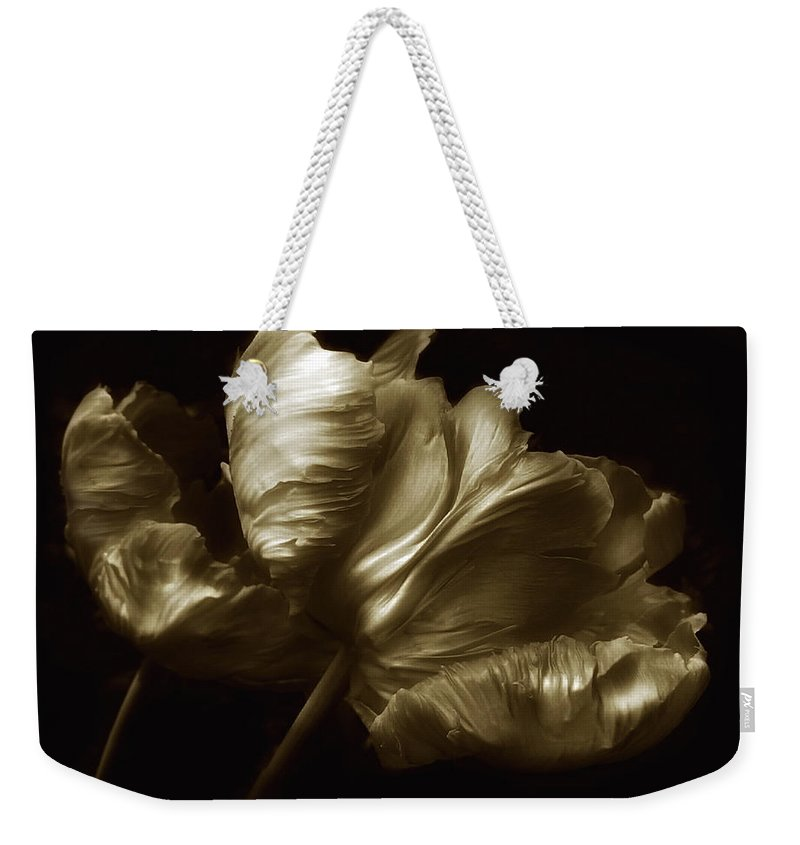 Flowers Weekender Tote Bag featuring the photograph Tulips In Sepia by Jessica Jenney