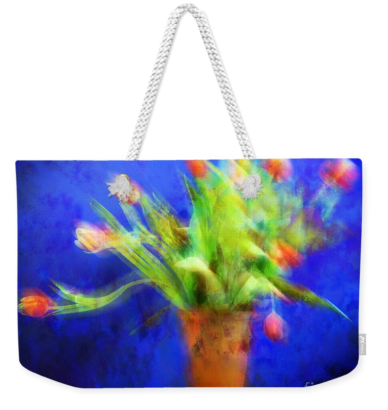 Abstract Weekender Tote Bag featuring the photograph Tulips In The Blue by Edmund Nagele