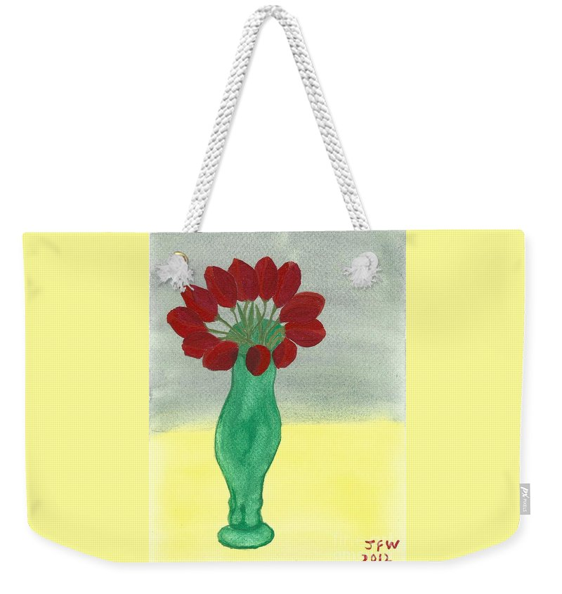 Tulips Of Love Weekender Tote Bag featuring the painting Tulips Of Love by John Williams