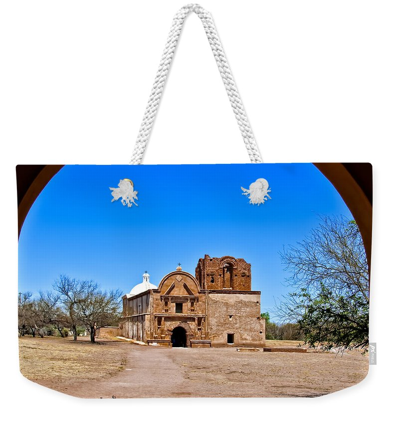 Arch Weekender Tote Bag featuring the photograph Tumacacori by Maria Coulson