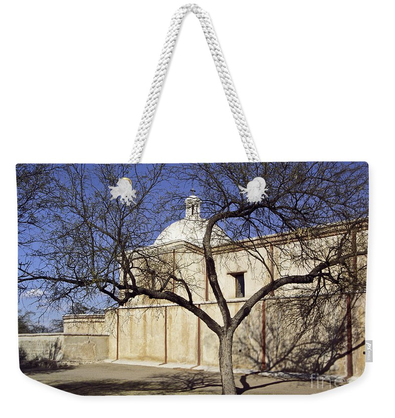 Mission Weekender Tote Bag featuring the photograph Tumacacori With Tree by Kathy McClure