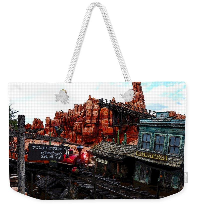Walt Disney World Florida Weekender Tote Bag featuring the painting Tumbleweed Town Magic Kingdom by David Lee Thompson