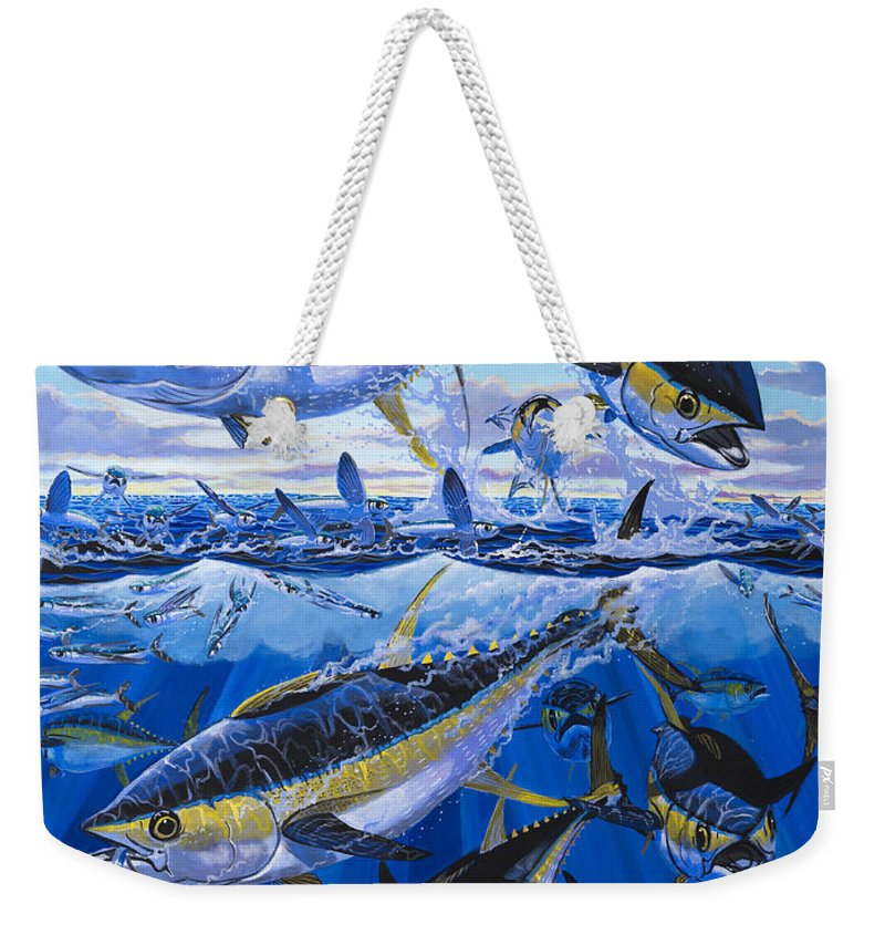 Tuna Weekender Tote Bag featuring the painting Tuna Rampage Off0018 by Carey Chen